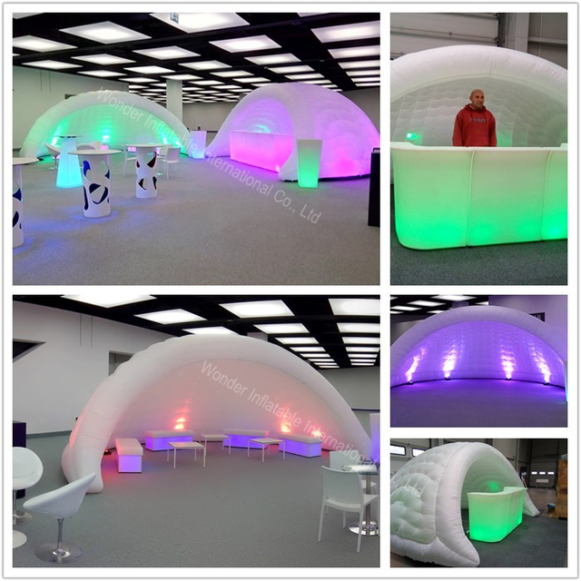 2017 new 7.8mWx3.8mH oxford giant inflatable bar tent with led lights for wedding&events