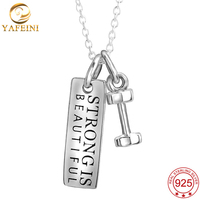 Dumbbell Necklace Strong Is Beautiful Fitness Jewelry 925 Sterling Silver Weight Plate Bareball Charm Necklace GNX8849