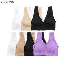 VEQKING – soutien-gorge de sport en dentelle pour femmes, haut de soutien-gorge sans couture, rembourré et respirant, pour le Yoga et le sommeil, grande taille 2XL 3XL