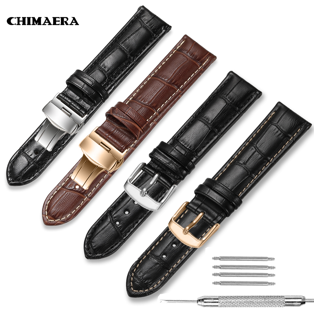 CHIMAERA Watch Bands Genuine Leather Strap 18mm 19mm 20mm 21mm 22mm 24mm Padded Croco Pattern For Tissot Seiko Omega Watchband