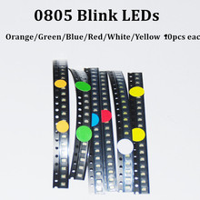 60pcs Flashing Blink LED Diode 0805 SMD Blinking Flash Diodo SMD 0805 Mixed 10pcs each Red Jade-Green Blue White Yellow Orange