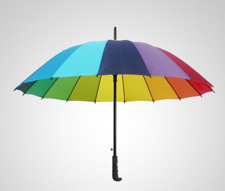 Rainbow Golf Fishing Umbrella Unisex Parasol Wedding Party Favors gift Sunny and Rainy Umbrellas 16k Windproof drop shipping