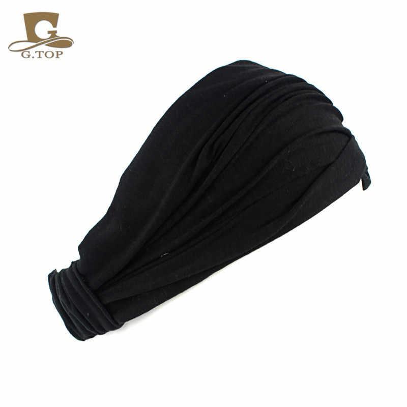 Damen baumwolle Haarband Kopf Band Stirnband Wrap Neck Kopf Schal Cap 2 in 1 Bandana