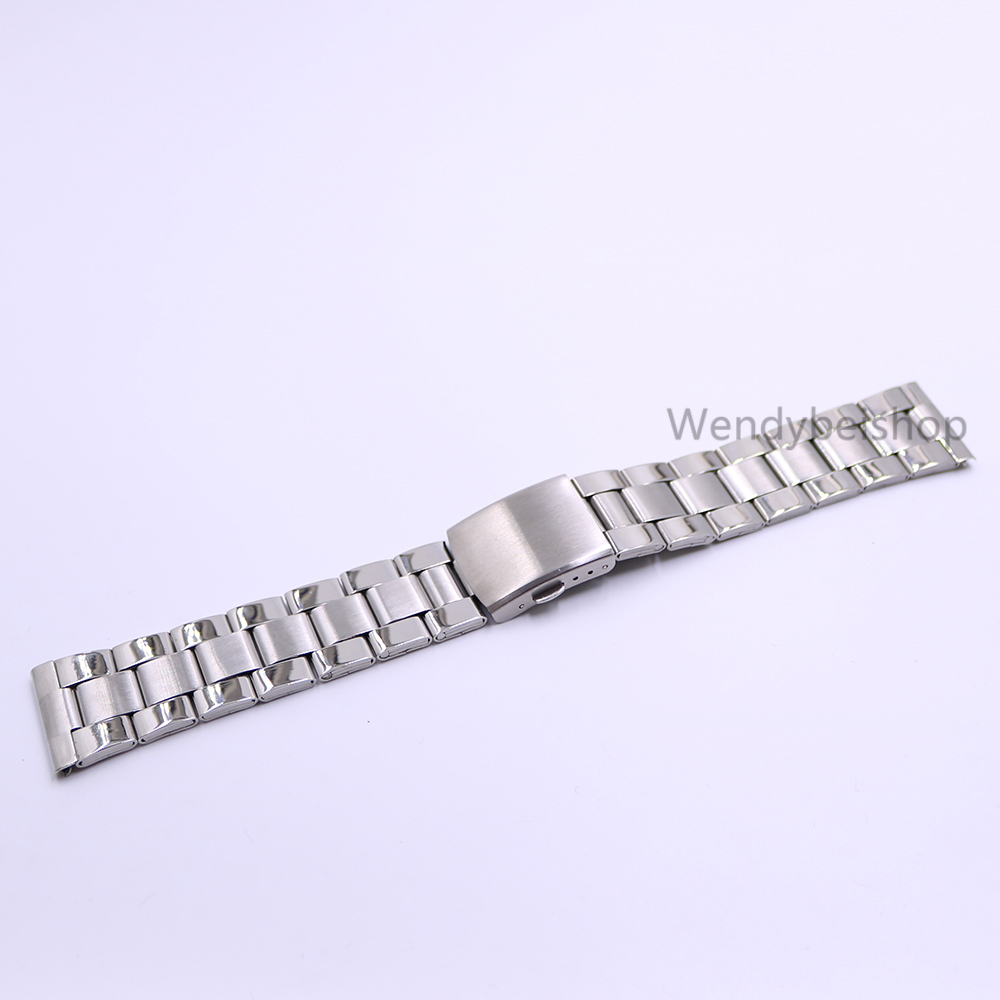 22mm Wholesale 316L Stainless Steel Silver Middle Polish Wrist Watch Band Strap Old Style Bracelet Double Push Deployment Clasp