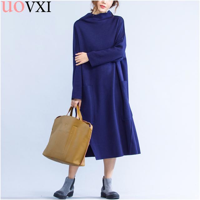 Uovxi plus size dress sólido suéter largo invierno de moda ocasional del remiendo del algodón del espesamiento caliente vestidos de cuello alto femenino