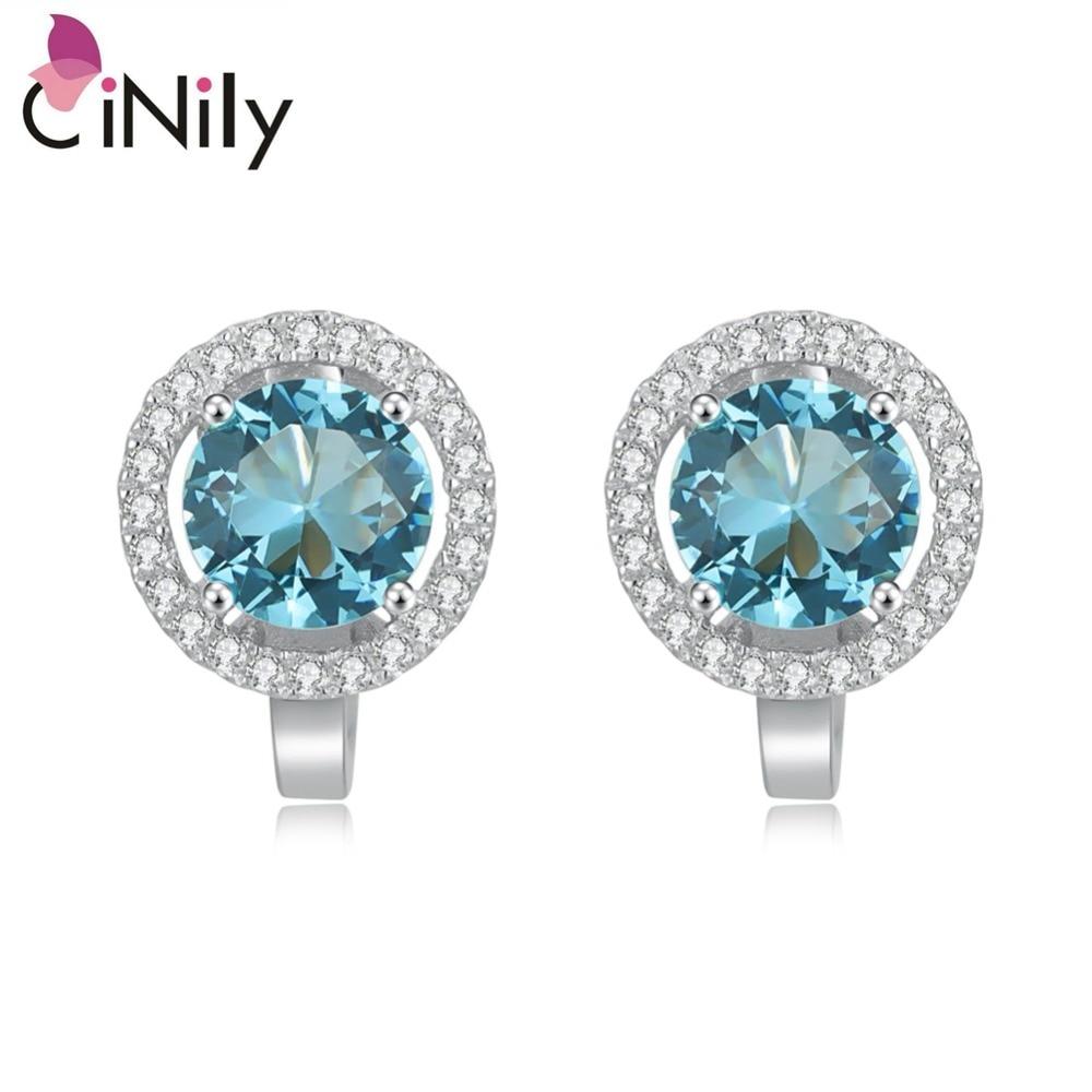 CiNily hiteles. 925 ezüst ezüst létrehozott kék topáz köbös cirkónium finom ékszer nők eljegyzési fülbevaló SE043
