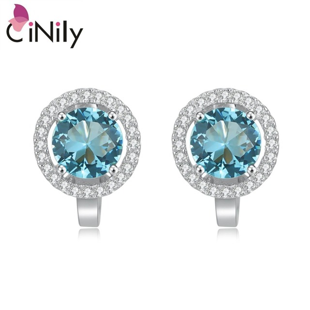 CiNily Authentic. 925 Sterling Silver Created Blue Topaz Cubic Zirconia Fine Jew