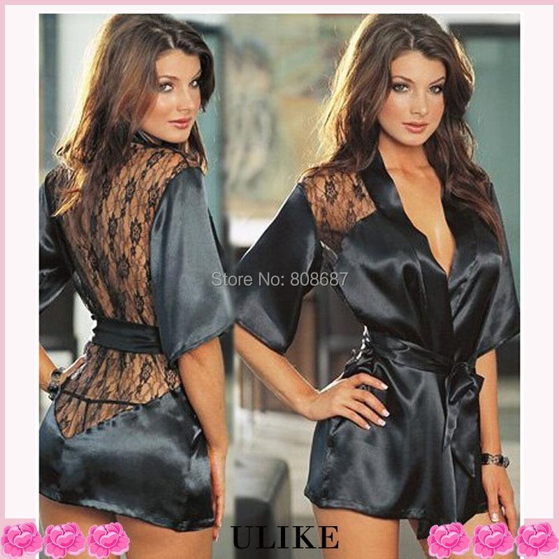 Black Lace camisón Hot Sexy Lingerie Women Robe ropa de dormir ropa - Novedad