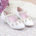 Branco beading wedding shoes for girls 2017 cut out crianças menina Sandálias Sapato de Salto Alto Para A Festa das Crianças Menina do Verão Infantil
