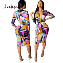 Kakan Summer New Womens Print Dress Sexy Nightclub with Belt Club Party