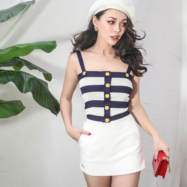 US $34 0 |2018 Summer Vintage Navy Style Knitted Tank Top Women Blue White  Stripes Stretch Fabric Buttons Decoration Top-in Camis from Women's