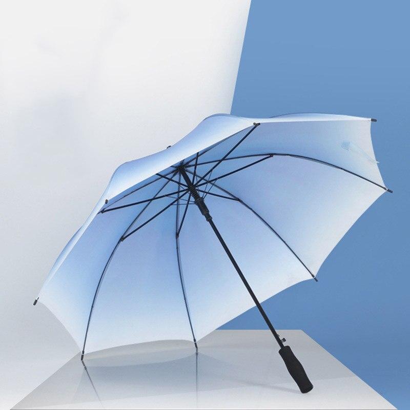 Gradient Transparent Long-handle Rainy Umbrella Ultra Light Women And Kids Clear Rain Umbrella Semi-automatic Female Umbrellas