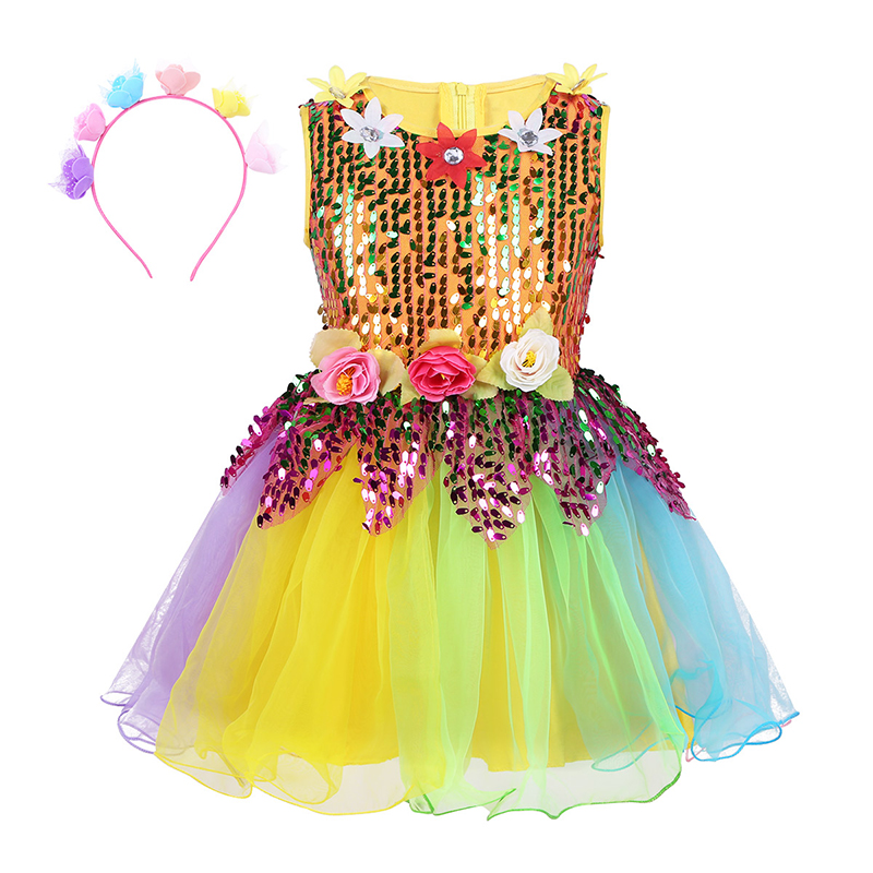 Kids Girls Sleeveless Sequins Ballerina Tulle Ballet Dress Flower Rainbow Jazz Latin Dance Dress Girls Clothes Stage Performance