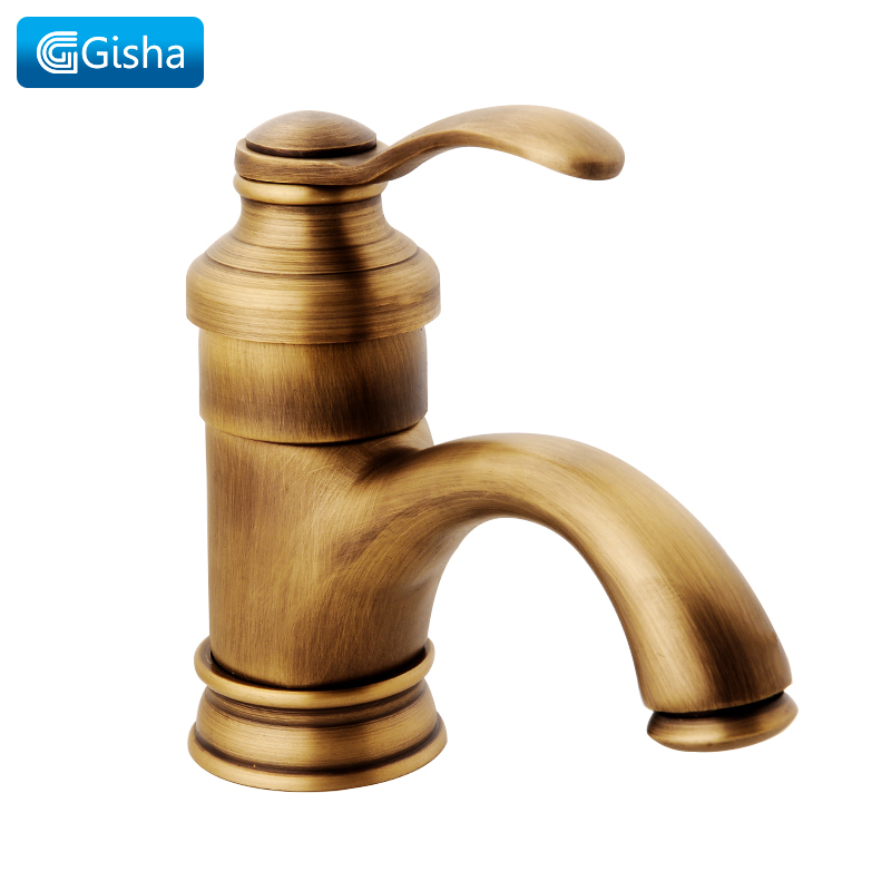 Gisha Basin Faucets Antique Brass Bathroom Faucet Sink Mixer Hot And Cold Water Tap Deck Mounted Single Handle Single Hole Taps chrome brass bathroom basin faucet counter top cold and hot water mixer tap sink single handle hole bath room taps