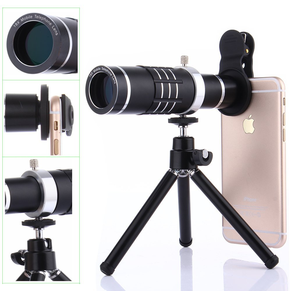 Universal Clip-On Phone 18X Optical Zoom Telephoto Lens+18X Super Macro Lens+0.6X Wide Angle Lens Tripod For Huawei For Samsung smart phone grip stabilizer cage with wide angle macro lens bluetooth for iphone samsung htc universal adjustable camera housing