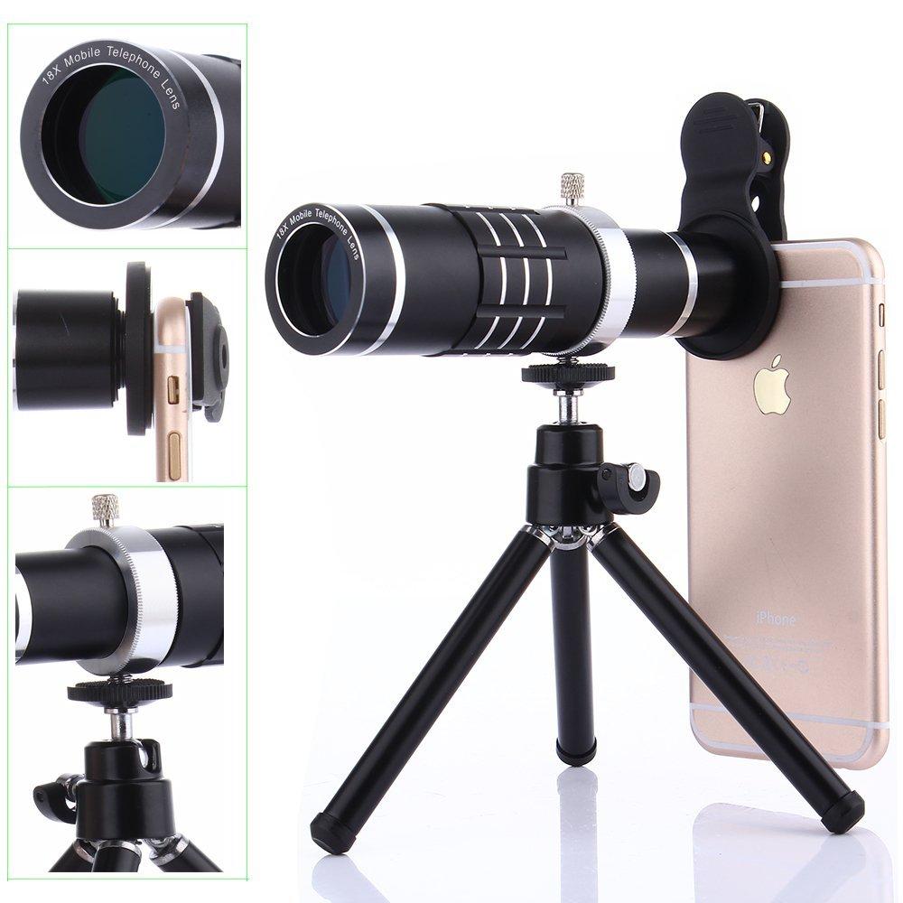 Universal Clip-On Phone 18X Optical Zoom Telephoto Lens+18X Super Macro Lens+0.6X Wide Angle Lens Tripod For Huawei For Samsung 12x zoom optical lens telescope w tripod