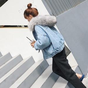 Image 3 - ผ้าฝ้าย DENIM แจ็คเก็ตผู้หญิง FUR Trim Hood PLUS ขนาดลง Parkas เสื้อโค้ทหญิงเดี่ยว Breasted DENIM Outover Coat ฤดูหนาว