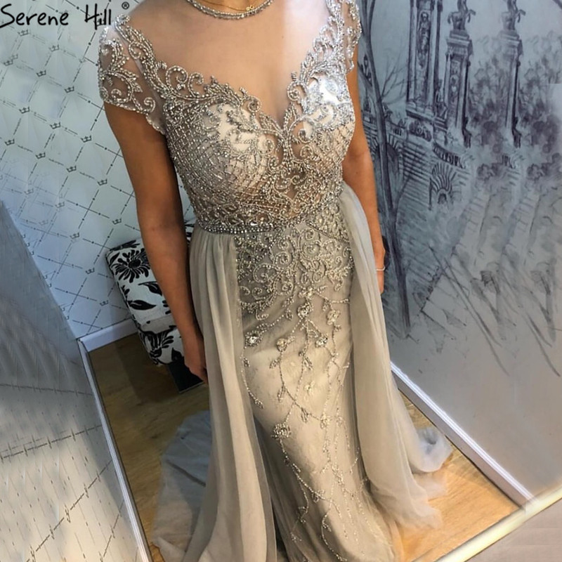 Dubai Crystal Short Sleeve Evening Dresses Design 2019 Luxury Mermaid Sexy Evening Gowns Serene Hill LA60960