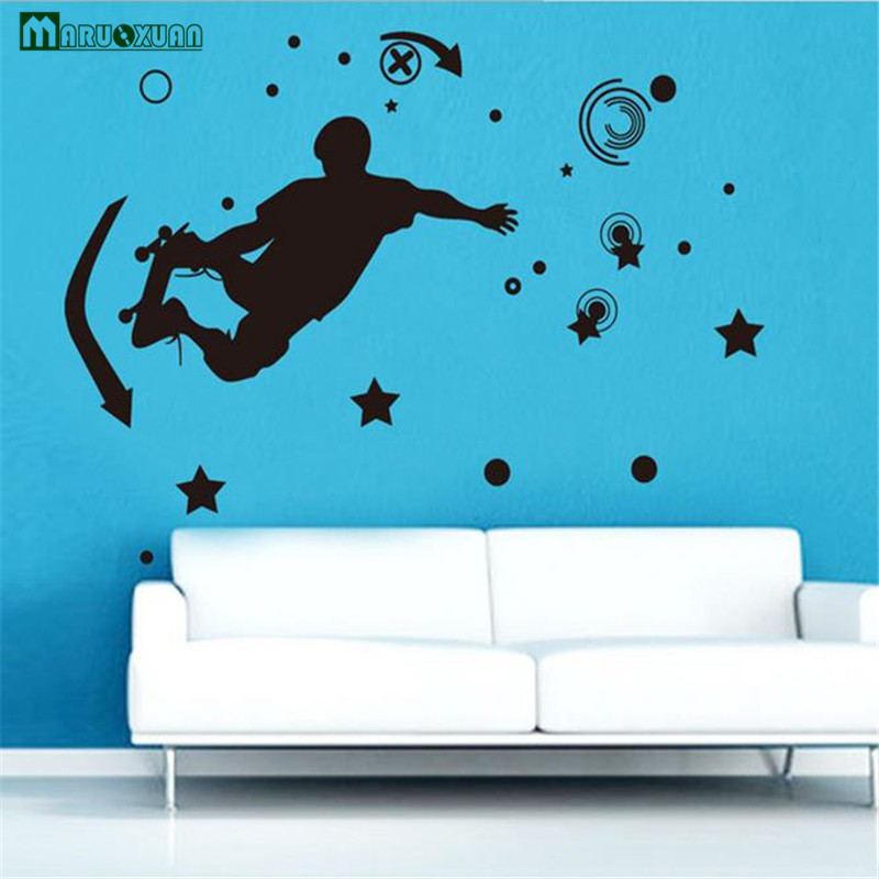 Maruoxuan New Removable Large Size Vinyl Wall Stickers Black Roller Skating Boy Room Decor Cartoon Vinyl Mural Art Wall Decals