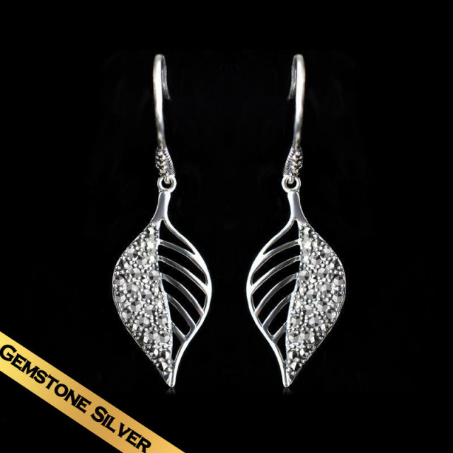 Special S925 Silver Leaf Earrings Free Shipping High Quality Austria Zircon Earring Hoop For Girls Women Wholesale EH13A0601