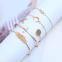 Bohopan 5PCS High Quality Bracelets Bangles With Crystal Fashion Exquisite Open Adjustable Simple For Girls