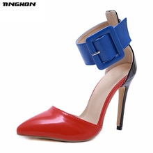TINGHON Mature PU Sandals Women Thin High Cover Heel Pointed Toe Buckle Strap Shoes Party Daily Black Red Blue 35-40