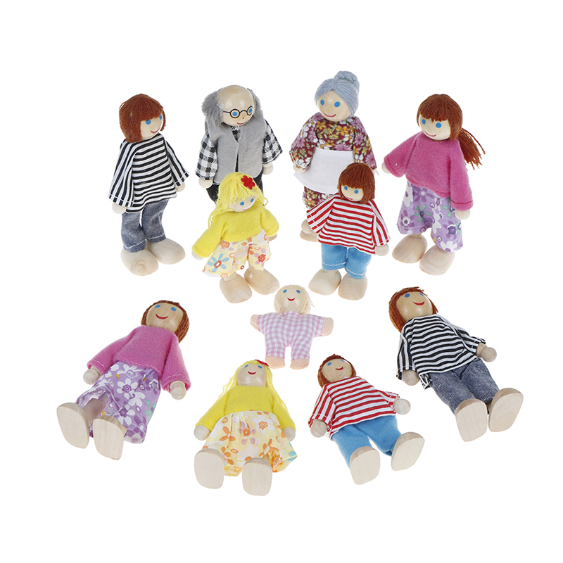 Small Wooden Toy Set Happy Dollhouse Family Dolls Figures Dressed Characters Children Kids Playing Doll Gift Kids Pretend Toys