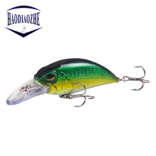 Купить с кэшбэком HAODIAOZHE Crankbait Hard Lure 7 Colrs Topwater Lifelike Swimbait Sharp Hooks Minnow Fishing Lure Wobblers Fishing Tackle YU503