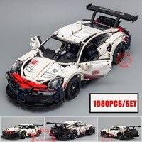 New 1580pcs Technic series White Super Racing Car fit legoings technic city Model kits Building Blocks Bricks diy Toys gift