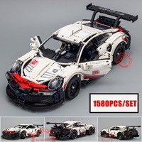New 1580pcs Technic series White Super Racing Car fit legoings technic city Model kits Building Blocks Bricks diy Toys gift