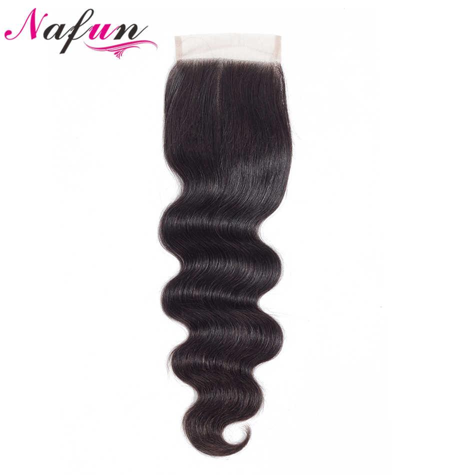 Onda do corpo de nafun 3 pacotes com fechamento pacotes de cabelo humano brasileiro com fechamento de renda fornecedores de cabelo não remy extensão do cabelo humano