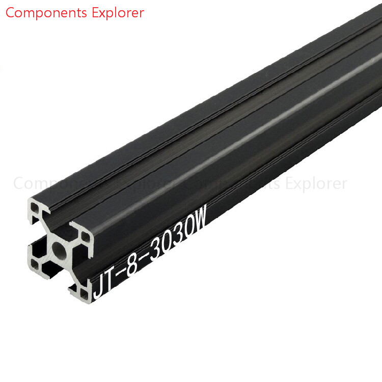 Arbitrary Cutting 1000mm 3030W Black Aluminum Extrusion Profile,Black Color.
