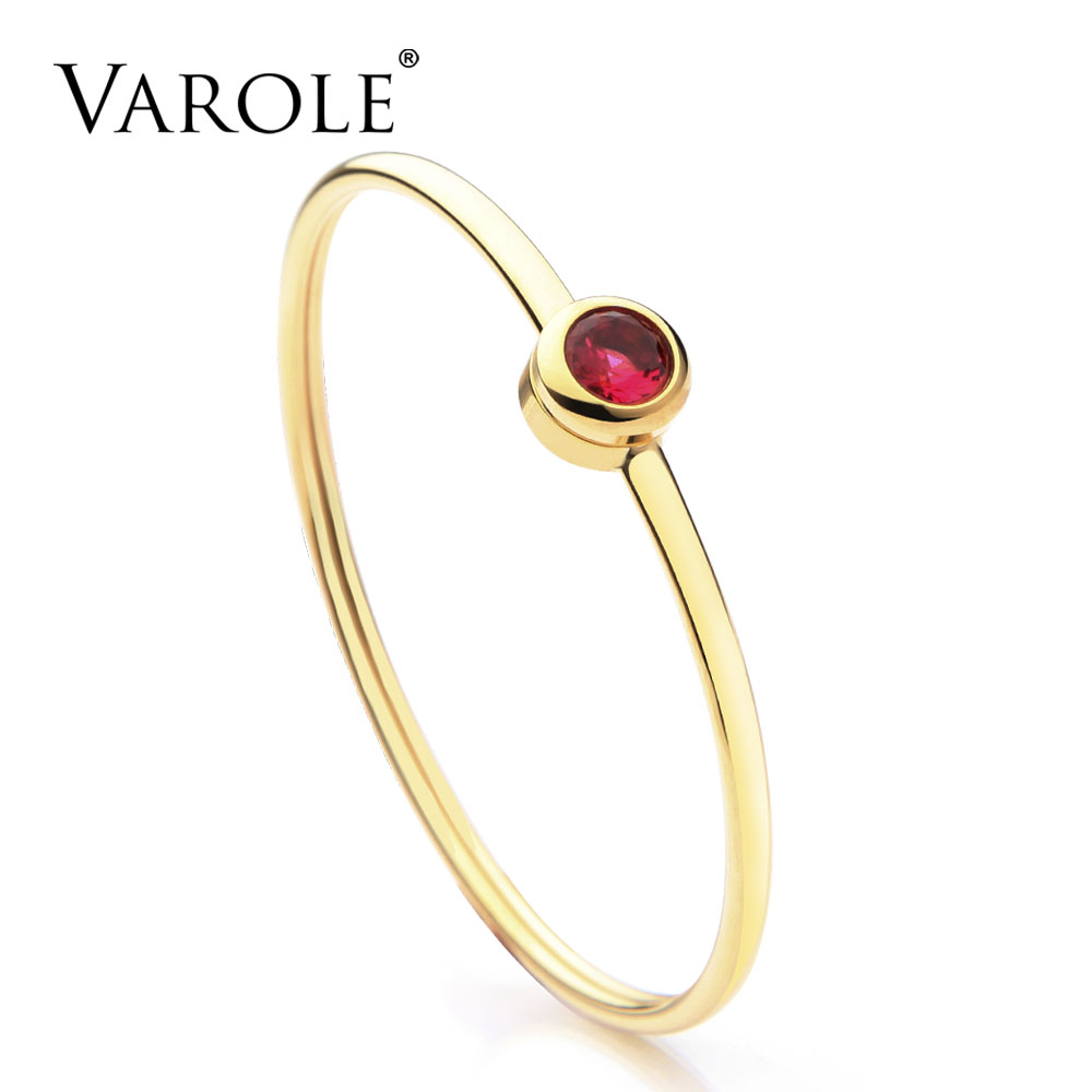 VAROLE Can Open Shining Crystal Cuff Bracelets For Women Jewelry Stainless Steel Gold Color Bracelets & Bangles Female Pulseras