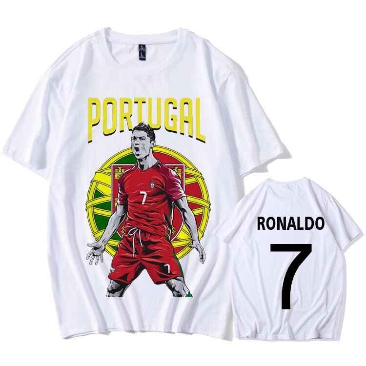 Camisetas Personalizadas al por mayor de Portugal fútbol camiseta blanca Ronaldo número 7 personalizar Logo nombre equipo foto Bandera Nacional