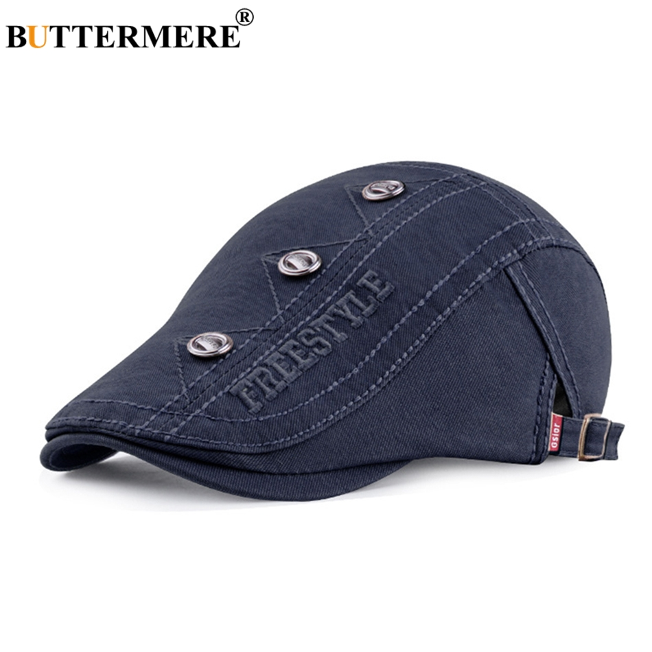 BUTTERMERE Beret-Hats Male Decorate Duckbill-Cap Embroidery Adjustable Vintage Summer