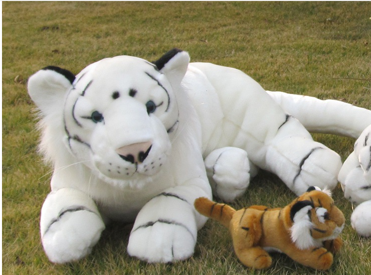 big creative white lying tiger toy lovely simulation plush tiger doll gift about 110cm stuffed animal 145cm plush tiger toy about 57 inch simulation tiger doll great gift w014