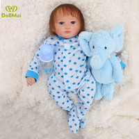 Real reborn baby boy dolls 46cm soft silicone reborn babies dolls toys for child with bear pacifier bottle bebe gift reborn