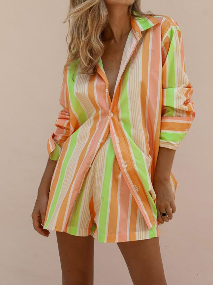 Rainbow Striped Shirt Shorts Set Women's Suits Summer Two Piece Set Long Sleeve Single Breasted Shirt And Elastic Waist Shorts