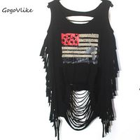 Summer Sexy O Neck Skull Print Punk Rock Tank Top Black Tassel Cutout Vest European And