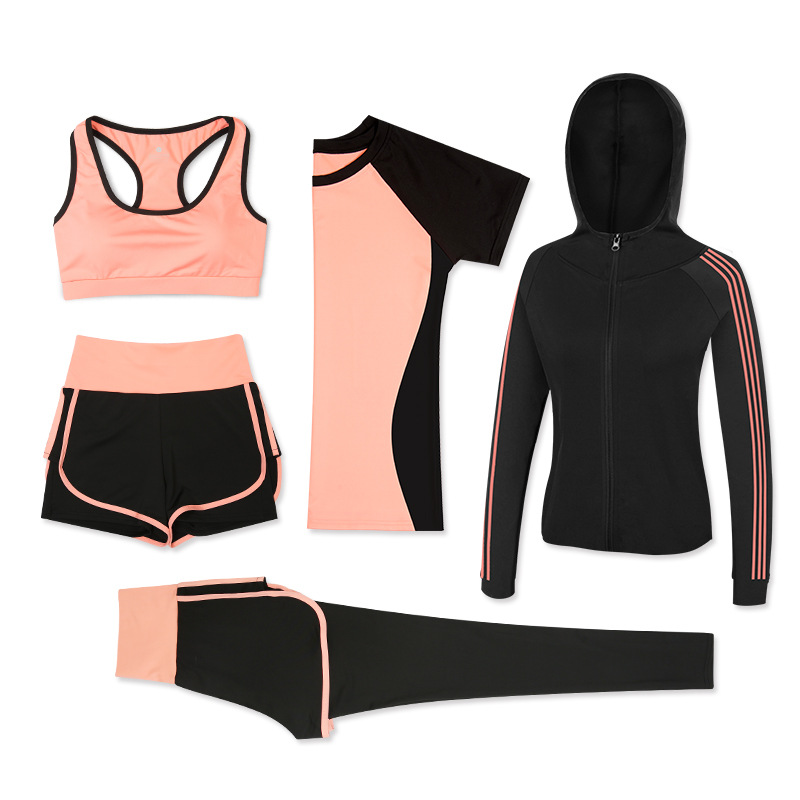 2019 Women 5Piece Yoga Set Gym Fitness Clothes Sport TShirt Running Long Pants Tight Jogging Workout Yoga Leggings Sport Suit
