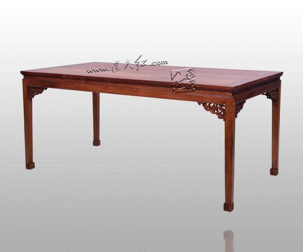 mesa de palo de rosa de birmania asientos largo slido escritorio de madera muebles para