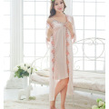 New Robe Sexy Lace Embroidery Nightdress Set Long Section Of Ice Silk Pijama Women Breathable And Comfortable Indoor Clothing
