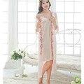 Novo Robe de Renda Sexy Bordado Conjunto Camisola Longa Seção De Mulheres Pijama de Seda Gelo Respirável E Confortável Roupa Interior