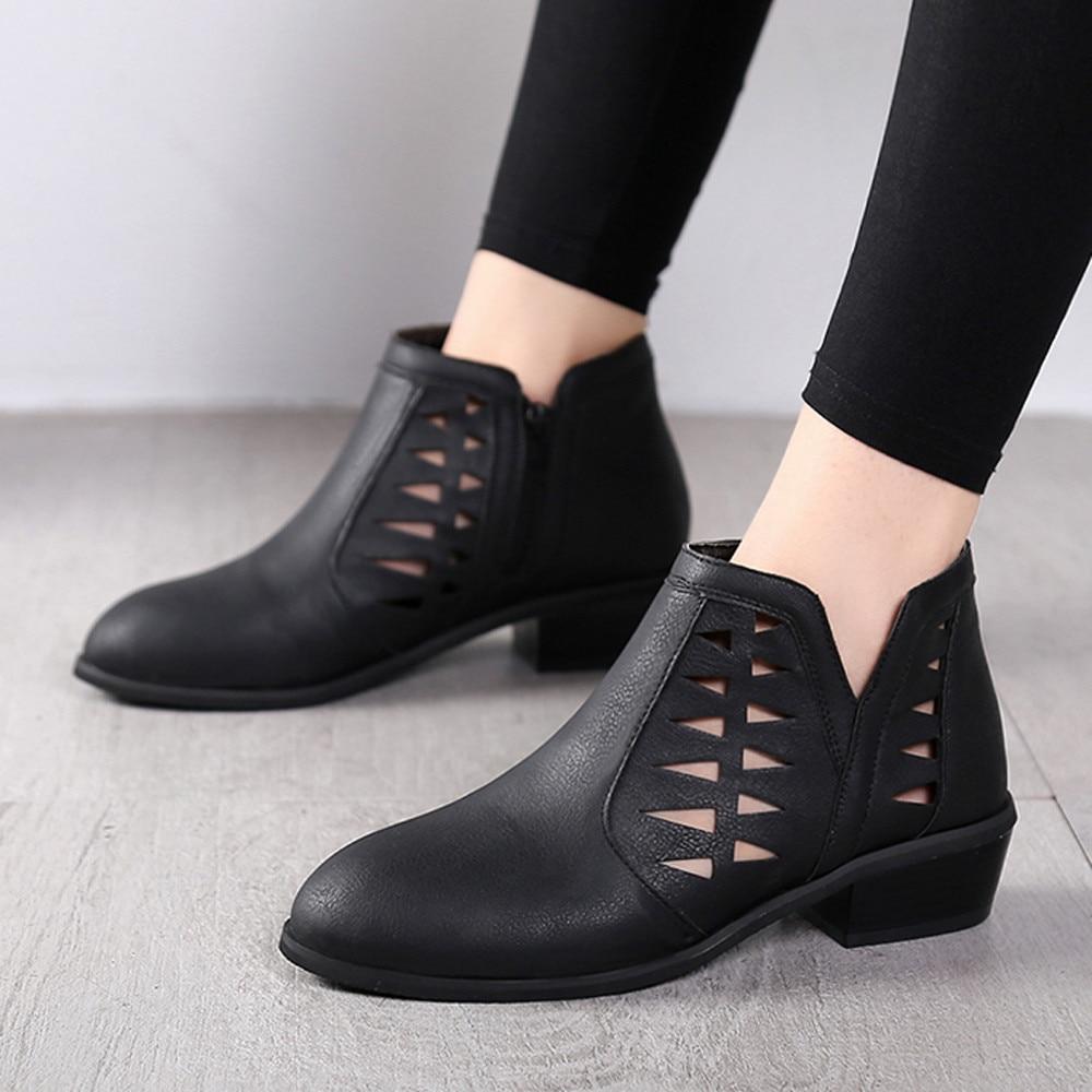 0411b193 Botines De Zapatos A Bajos Botas b Huecos Tacón Vintage c Tacones Cuero  Moda Cortas Cálido Mujer ...