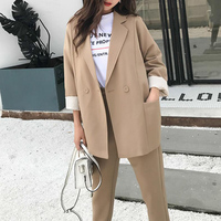 2019 Spring Leisure Suit Set Woman Oversized Long Blazer High Waist Ankle Length Straight Pants Korean Fashion Two Piece Set