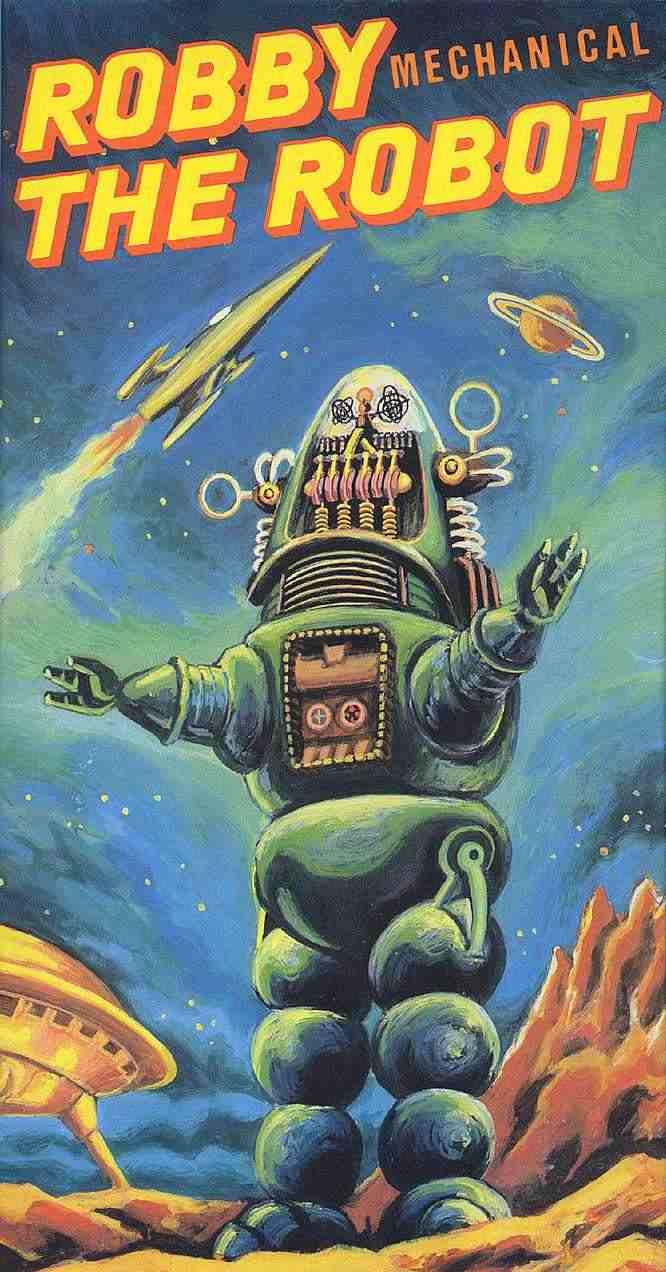 Robot mecánico diseño manuscrito Sci-Fi Ciencia ficción Retro Kraft Vintage cartel de la lona de la pared etiqueta de la decoración del hogar regalo