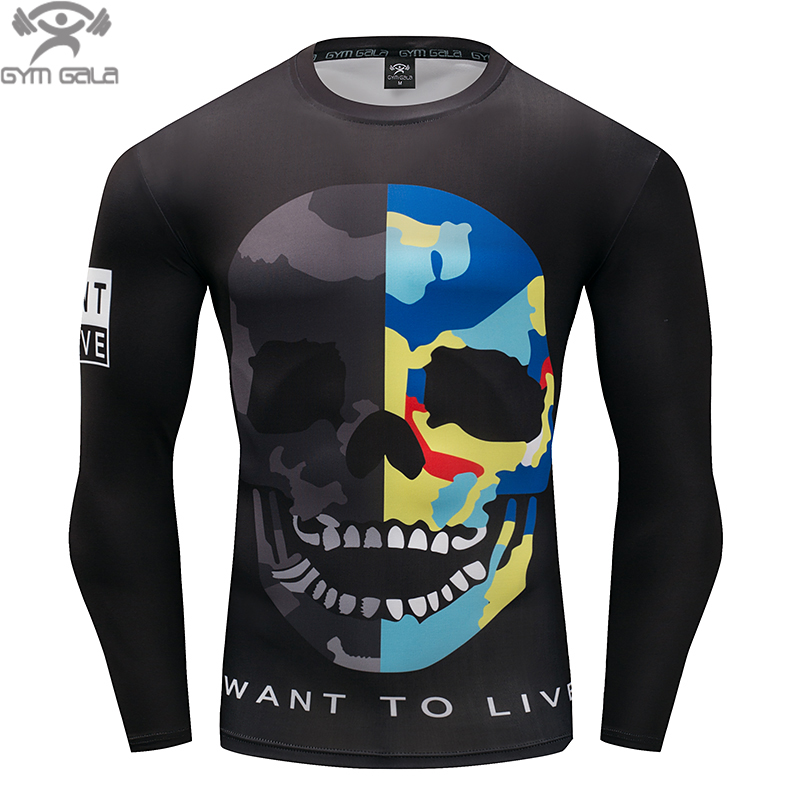 Fashion Skull short Sleeve Men's T-shirts 3D Print Tight Skin Compression Shirts for Men MMA Male Body Tops Fitness T-shirt