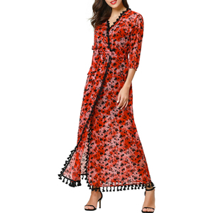women muslim clothing elegant Embroidery long sleeve dress Dubai evening dress moroccan Kaftan Caftan floor length gown LF-17