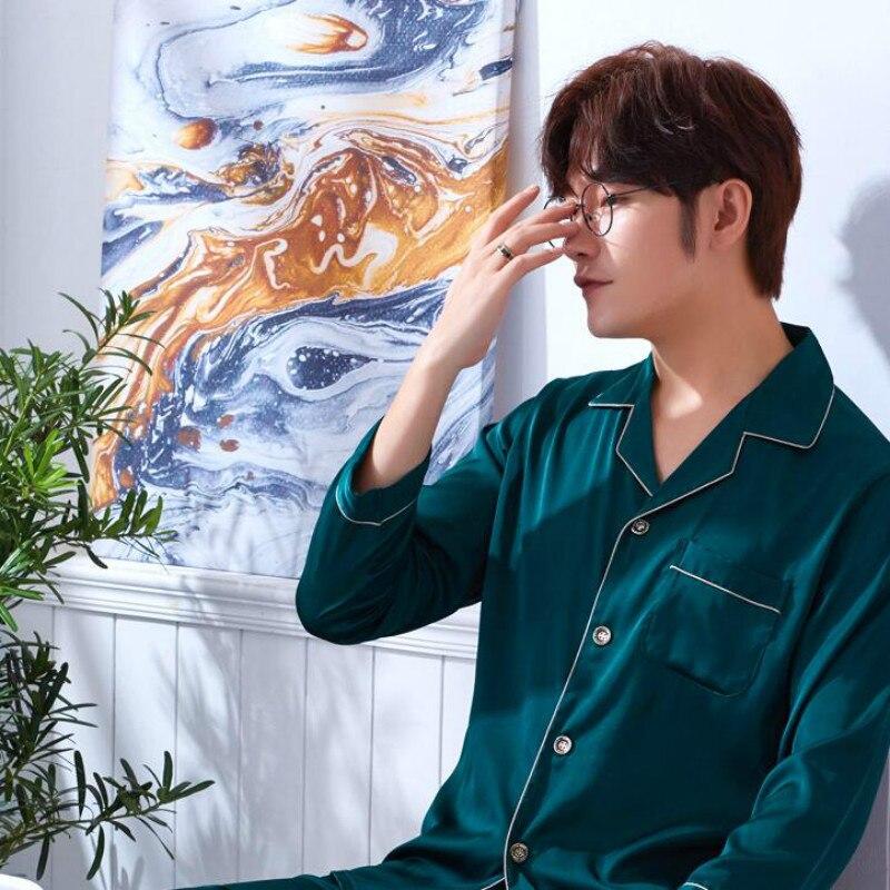 Men's Silk Homewear Long Sleeve Sleepwear Adult 2 Pcs Set Nightwear Male Satin Homewear Plus Size Students Leisure Clothes J001