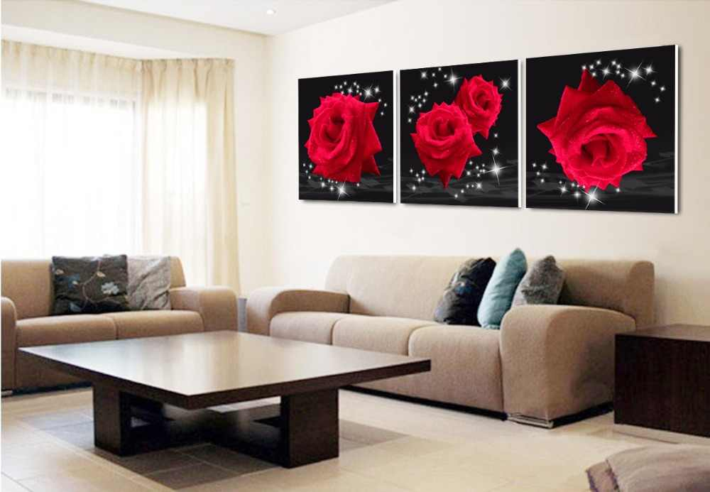 Btf Modern wall art Print 3 piece red rose flower Home decor pictures on the wall pictures for living room canvas paintings